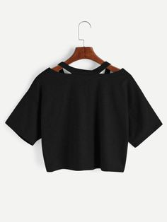 Shop Cut Out V Neckline Rose Patch Slub Tee at ROMWE, discover more fashion styles online. Hm Outfits, Crop Top Outfits, Teenager Outfits, Cute Casual Outfits, Mode Outfits, Outfits For Teens, Pretty Outfits, Girls Fashion Clothes, Teen Fashion Outfits