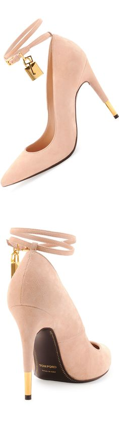 Tom Ford Suede Ankle-Lock Pump, Wild Rose (with Tom Ford golden hardware and adjustable double ankle strap) LOOKandLOVEwithLOLO