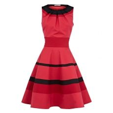 Contrast Color Stripe Round Collar Tight Waist Sleeveless Red Dress