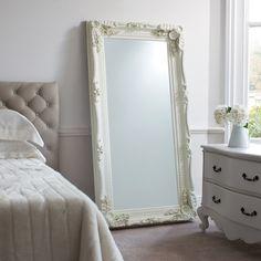 Full Length Carved Cream Mirror : Beau Decor
