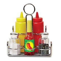 Melissa & Doug Let's Play House! Condiment Set (Pretend Play, Sturdy Metal Caddy, Realistic Sound Effects, 6 Pieces, Great Gift for Girls and Boys - Best for and 5 Year Olds) Arty Toys, Spice Set, Condiment Sets, How To Iron Clothes, Melissa & Doug, Fine Motor Skills, Gifts For Girls, Play Houses, Ketchup