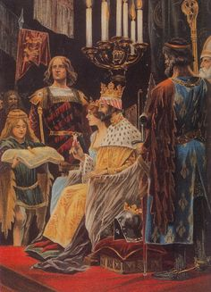 Coronation of Edward II Plantagenet , seated with his queen, Isabelle Capet