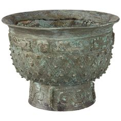 OKA Verdigris Chinese Bowl/Planter (80 CAD) ❤ liked on Polyvore featuring home, outdoors, outdoor decor, green, chinese bowl, lightweight planters, resin planters, oka and resin bowl