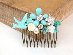 Blue Hair Comb Wedding Hair Comb Vintage Wedding by vintagebynina, $39.00