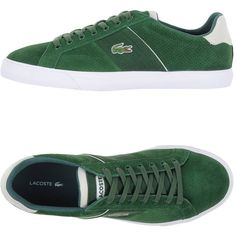 Lacoste Sneakers ($147) ❤ liked on Polyvore featuring men's fashion, men's shoes, men's sneakers, green, mens leather sneakers, mens leather shoes, mens leopard print shoes, mens two tone shoes and mens green shoes
