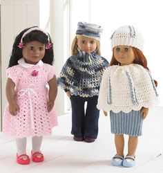 Abby Allie and Annie. Crochet Doll Clothes by Maggiescrochet, $7.99