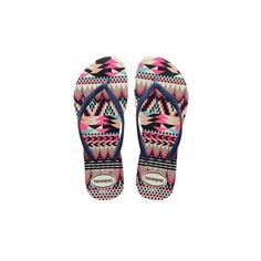Slim Tribal In White Navy Blue ($27) ❤ liked on Polyvore featuring shoes, sandals, flip flops, havaianas flip flops, summer shoes, blue sandals, strappy sandals and tribal print sandals