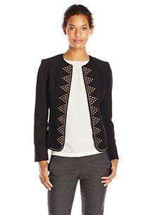 Kasper Women's Flyaway Embellished Jacket, Black, 10 Crepe sheath dress with metal embellishmentSheathMetal embellishment