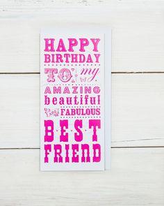 Gelukkige verjaardag beste vriend kaart van WychwoodCuckoo op Etsy