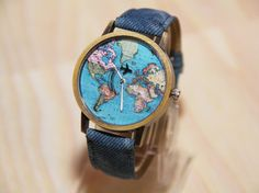 Wristwatches with aircraft watches world map by RedMadagaskar