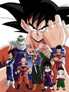 GOKU, Piccolo,  Tien, Yamcha, Vegeta, Krillin, Trunks, Gohan, and Choutsou.