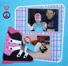 Winter Ski Scrapbook Page with a Ski boot image from Cricut's Total Sports - from Christmas Album 4
