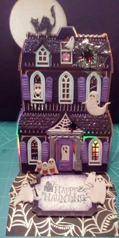 Halloween Paper Crafts, Halloween Projects, Halloween House, Halloween Cards, Halloween 2015, Happy Halloween, Christmas Diy, Christmas Cards, House Cards