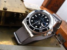 Rolex-Submariner-116610 on Solid NATO End Link custom made for Rolex models : GMT, Submariner, Explorer, Daytona + Set of Two NATO straps, Polish [NEP2-NATOP-XX]