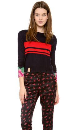 Cashmere Intarsia Crew Neck Sweater, Band of Outsiders only at http://tllg.net/uwq7!  Price: $237.00  A boxy Band of Outsiders sweater gains graphic edge with intarsia flowers accenting the cuffs and crisp stripes across the chest. Banded scoop neckline and notched, ribbed hem. Long sleeves.  Fabric: Fine knit. 55% silk/45% cashmere. Dry clean. Imported, China.  MEASUREMENTS Length: 21in / 53.5cm, from shoulder   www.fsession.com