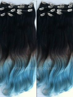 "Blue Ombre Hair Extensions, Blue Dip Dye Hair, Black or Brown Hair Dip Dyed with Blue//(7) Pieces//20""/Customize your Base"
