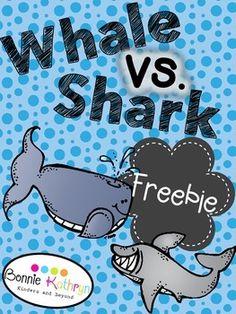 FREE!!  Sharks vs. Whales ELA and Science Freebie