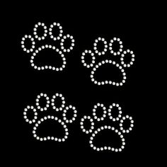 rhinestone rhinestud stud transfer hot fix hotfix iron on paw print set of 4 applique bling patch cat panther on Etsy, $5.00