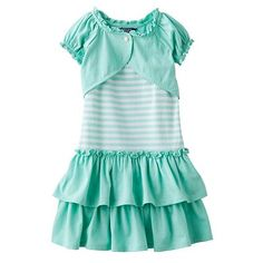 Chaps Striped Dress and Shrug Set - Toddler