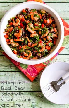 Shrimp and Black Bean Salad with Cilantro, Cumin, and Lime; I love this combination and also the trick of marinating the shrimp in some of the dressing for extra flavor.  (Gluten-Free) [from KalynsKitchen.com]