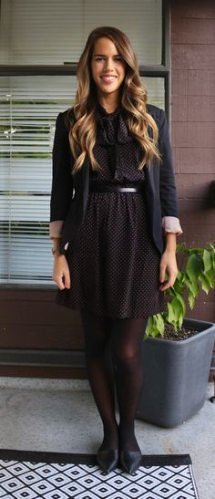 Jules in Flats - Tie-Neck Polka Dot Dress + Blazer for Work