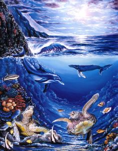 """""""Memories of Maui"""" by Belinda Leigh Category: Seascapes, Turtles, Dolphins, Whales Hawaii Painting, Dolphin Painting, Dolphin Art, Turtle Painting, Underwater Art, Hawaiian Art, Wale, Delphine, Sea Art"""