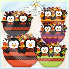 Halloween Candy Bowl Penguins 1 - Excl. KWD Clip Art : Digi Web Studio, Clip Art, Printable Crafts & Digital Scrapbooking!