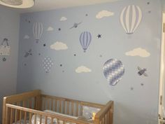 Enchanted Interiors Premium Self Adhesive Fabric Nursery Wall Art Stickers  Hot Air Balloons and Jets