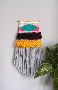 Woven wall hanging weaving / small wall art tapestry fiber art home decor  / boho modern / multicolour yellow green grey / nursery gift