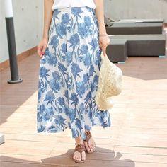 Korea womens shopping mall [styleberry] #koreafashionshop #Fashionwomen  #korea #dailylook #dailyfashion #T-shirts #dress #tops #blouse #cardigan #outwear #skirt #pants #basicitem #shoes #bag #jewelry #acc #koreafashion #clothes #skirt #裙子 #スカート Flower ALine Long Skirt / Size : FREE / Price : 32.35 USD