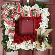 Square burlap Christmas wreath with letter of your choice