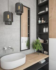 Banheiro Muito Lindo Com Parede Em Cimento Queimado E Madeirinha Olha Esses Nichos ótimos