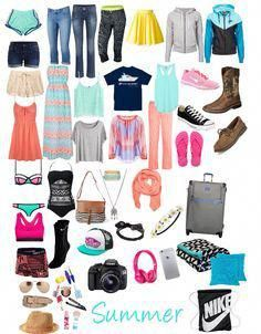 Vacation packing list for teens 23 teen road trip essentials for girls that Summer Vacation Packing, Summer Camping Outfits, Packing List For Vacation, Travel Outfit Summer, Vacation Outfits, Vacation Trips, Summer Outfits, Packing Lists, Camping Packing