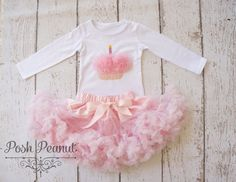 Girls Pettiskirt Birthday Outfit  1st birthday by PoshPeanutKids