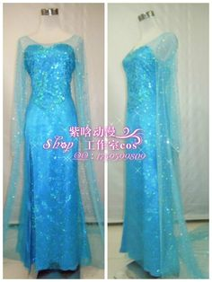 Movie Frozen Princess Elsa Dress Movie Cosplay Costume for adult B version W/WIG