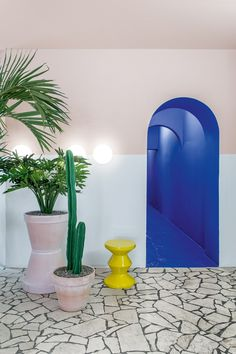 The forms and colours of a David Hockney painting are referenced in this Berlin poke restaurant, designed by Ester Bruzkus Architekten to feel Bar Design Awards, Terrazzo Flooring, Stone Flooring, Restaurant Design, Restaurant Bar, Restaurant Interiors, David Hockney Paintings, Terrazo, Pastel Walls