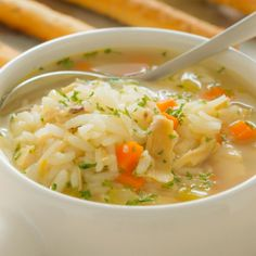 Simple Chicken And Rice Soup Recipe from Grandmother's Kitchen