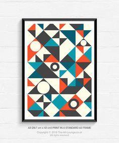 Geometric Art, Mid Century Modern, Abstract Art, Giclee Art Print, Abstract Wall Art, Art Print, Contemporary Art, A3 Print, Home Decor