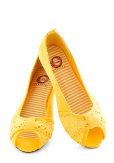 I would probably wear these everywhere because they are so cheerful! Saffron the Ball Flat - Flat, Yellow, Crochet, Peep Toe, Spring