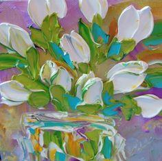 Oil Painting Art White Tulips Impasto by IronsideImpastos on Etsy