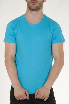 Κοντομάνικη μπλούζα τυρκουαζ με στρογγυλή λαιμόκοψη αντρικό sorbino