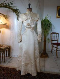 Victorian Ivory Silk Wedding Gown, ca. 1896
