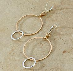 Double Hoop Hammered Earrings