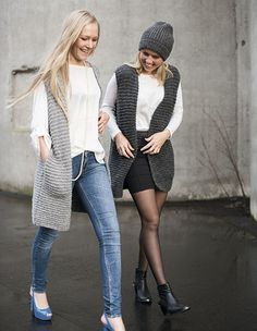 Rillevest med lommer Diy Fashion, Mantel, Diys, Normcore, Knitting, Chic, Crochet, Vests, Wraps