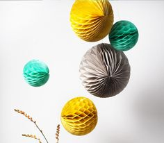 Grey, Yellow and Teal Set of Honeycomb Tissue Balls | Paper & Party Love