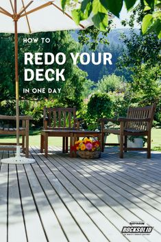 RockSolid 6X Deck Coat applies thick and easy so you can have a refinished outdoor deck in just one day! Clean your deck, prime it, and then apply RockSolid. You'll have a brand new look and still have time to schedule that last-minute barbecue on the back deck. Backyard Patio Designs, Backyard Landscaping, Yard Design, Outdoor Spaces, Outdoor Living, Outdoor Decor, Outdoor Ideas, Diy Deck, Deck Patio