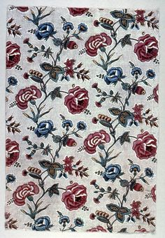Fragment (France), ca. 1770 Medium: linen warp, cotton weft Technique: plain weave foundation. Mordants for the four madder colors, black, lavender and two reds were block-printed. Yellow and blue were painted on by hand. 1973-51-101    Company: Oberkampf & Cie.