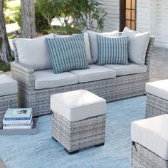 Belham Living Brookville All Weather Outdoor Wicker Sofa Sectional Set Image 7 of 11 Wicker Sofa, Wicker Furniture, Cheap Furniture, Steel Furniture, Outside Furniture, Indoor Outdoor Furniture, Outdoor Sofa, Outdoor Seating Areas, Patio Seating