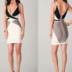Gray, White, And Black Dress. Low Cut