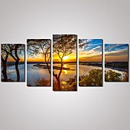 5+Panels+Sunset+River+Landscape+Picture+Print+Modern+Wall+Art+on+Canvas+Unframed+–+USD+$+29.99
